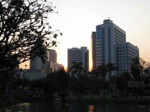Blick aus dem Lumphini Park in Bangkok auf eine Skyline