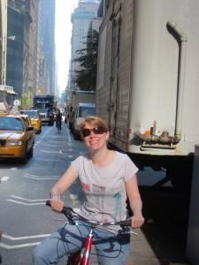Fahrrad fahren im NY Verkehr