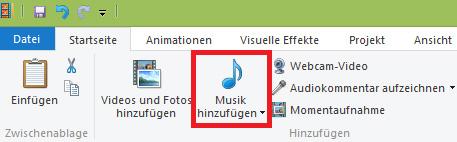 Musik hinzufügen
