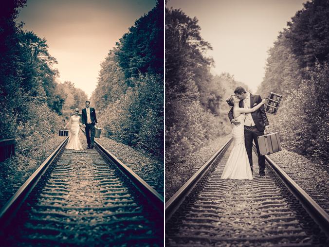 Brautpaarshooting auf Gleisen